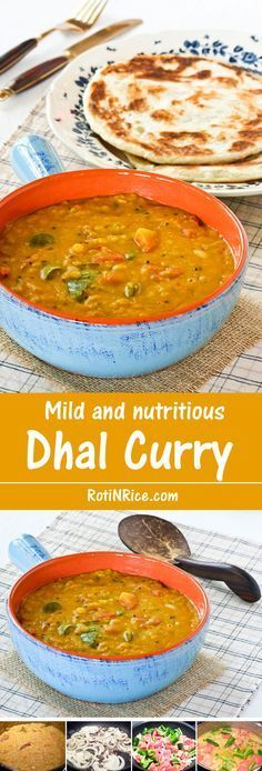This Dhal Curry is a very mild and nutritious curry made up mainly of lentils, tomatoes, chilies, and spices. Heat level can be adjusted according to taste.   RotiNRice.com Swap the butter for dairy free spread