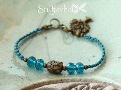 Kleines Makramee Armband, Buddha, glasschliff Perlen, bronzefarben, Lebensbaum