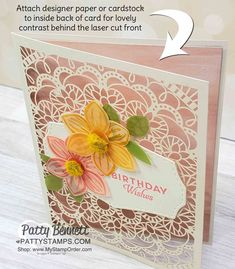 Stampin' Up! Bird Ballad Laser Cut detailed cards with Floral Essence stamp set and Perennial Flower punch! Birthday card idea from Patty Bennett Flower Birthday Cards, Flower Cards, Laser Cut Paper, Laser Cut Card, Birthday Cards For Women, Specialty Paper, Stampin Up Catalog, Mothers Day Cards, Paper Cards
