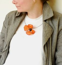 Poppy Flower Necklace Burnt Orange Paper by TaylorsEclectic, $20.00