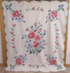 Romantic 1930s American Beauty Roses Applique Quilt