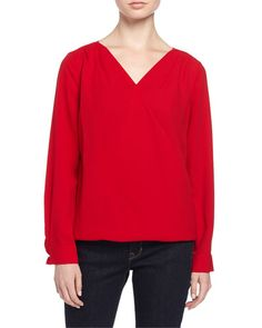 Tahari Pepper Draped V-Neck Long-Sleeve Blouse, Scarlet New offer @@@ Price :$119 Price Sale $76.5