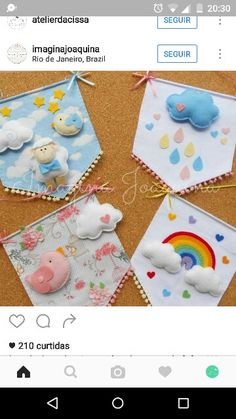 Banderin nube Baby Crafts, Felt Crafts, Diy And Crafts, Crafts For Kids, Fabric Crafts, Sewing Projects For Kids, Diy Projects To Try, Sewing Crafts, Craft Projects