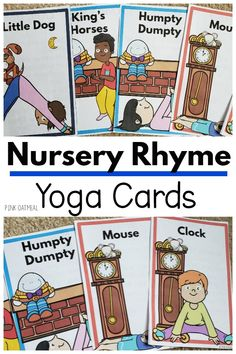 Nursery Rhyme Yoga Cards and Printables Nursery rhyme yoga is the perfect addition to your nursery r Fine Motor Activities For Kids, Rhyming Activities, Infant Activities, Movement Activities, Learning Activities, Nursery Rhymes Preschool, Preschool Ideas, Kinesthetic Learning, Play Based Learning