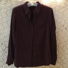 LOFT SILK Purple Button Down Shirt Lovely purple button down silk blouse. Worn only a few times, two pockets on front, sleeves roll up. 27 inches long, 32 inch bust. LOFT Tops Button Down Shirts