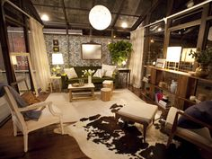 Love the overlapped rugss, all white chair, curtains (floor to ceiling) Challenge 9: Glass Houses - Emily's Best Makeovers From HGTV Design Star on HGTV