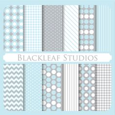 Stylish Essential Baby Blue Digital Scrapbooking Paper Pack, Background, Patterned Paper, Card, Photographers, Craft - Commercial Use
