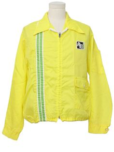 1970s Vintage Jacket: 70s -Horizon- Mens sunny yellow, lime and white nylon windbreaker style racing jacket. Stripes down the right front, an -RE- logo patch on the left chest, lower left snap flapped pocket, left sleeve pocket, snap tab cuffs, a fold over collar and zip front with drawstrings.