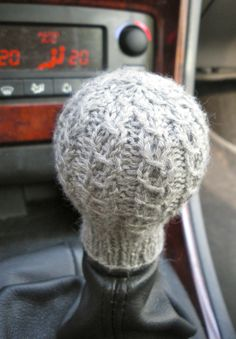 Free Knitting Pattern for Gear Stick Sock - Great stocking stuffer! This gear shift cozy by imawhale protects your hand freezing in the winter or burning in the summer.