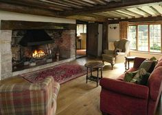 A proper Inglenook Fireplace is a must have in my dream country house Inglenook Fireplace, Cottage Fireplace, Rustic Fireplaces, Fireplace Design, Cottage Living Rooms, Cottage Interiors, My Living Room, Salons Cosy, English Decor