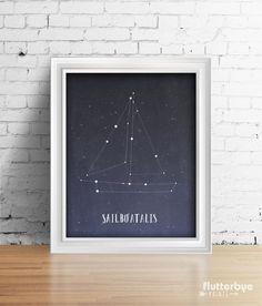 Imaginative Sailboat Constellations Wall Art Girl or Boy Room Idea Nautical Theme by FlutterbyePrints Star Themed Nursery, Nursery Themes, Room Themes, Nursery Room, Girl Nursery, Constellation Art, Kids Decor, Decor Ideas, Gift Ideas