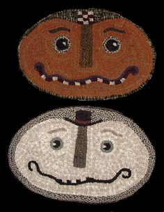 The Red Saltbox Oval Jack/Snow Chairpad Rug Hooking Pattern Rug Hooking Designs, Rug Hooking Patterns, Primitive Crafts, Primitive Fall, Punch Needle Patterns, Latch Hook Rugs, Hand Hooked Rugs, Wool Art, Halloween Doll
