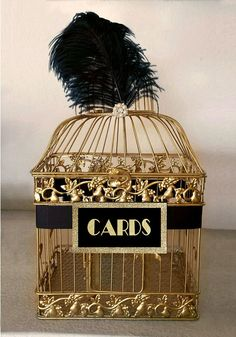 Great Gatsby Wedding Card Holder Gold Bird Cage with Black