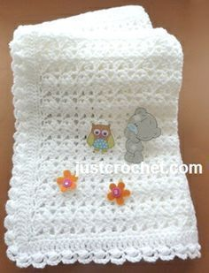 Free baby crochet pattern for shawl with cluster edge http://www.justcrochet.com/shawl-cluster-usa.html #justcrochet #patternsforcrochet