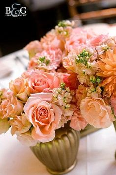 Pink flower centerpieces    {Flowers by Leah}