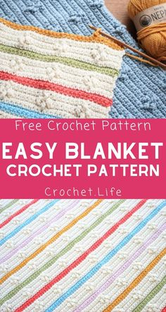 You will love this adorable easy blanket crochet pattern! A perfect crochet baby blanket with colorful stripes that are easy to weave in for a beautiful and easy crochet pattern! Baby Afghan Crochet Patterns, Baby Blanket Crochet, Crochet Baby, Free Crochet, Crochet Blankets, Baby Patterns, Crochet Summer, Square Patterns, Crochet Toys