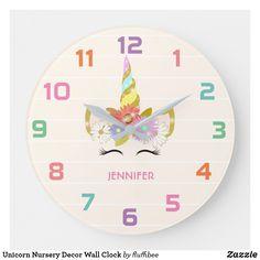 Shop Unicorn Nursery Decor Wall Clock created by fluffibee. Wall Clock Nursery, Wall Clock Gift, Baby Wall Art, Baby Girl Nursery Decor, Nursery Room, Nursery Ideas, Babies Nursery, Rustic Nursery, Bedroom Ideas