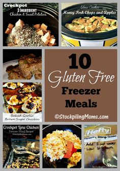 Here are 10 Gluten Free Freezer Meals that are delicious and easy to make on a Sunday afternoon for the week.  You can take a few hours to prep these recipes and you will have dinner ready for 10 nights (or more if your family eats leftovers) when you do.  There is no need to worry about what's for dinner when you have these freezer meals on hand. You can now take the hassle out of the week and rest assure that you will have a Gluten Free Dinner recipe that you can enjoy and that are so t...