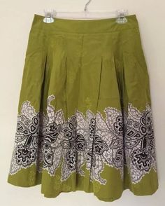 Club Monaco Skirt Green Silk Blend Size 4 #ClubMonaco #FullSkirt