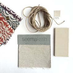 NATURAL LINEN from our new collection, Pinwheel. Seen here with our Bandra fabrics in Haveli Red, Brinjal Purple, and Monsoon Blue, Heath Ceramics tile in New Warm White G8.2, and Pantone 13-0607. seemakrish #pinwheel #14daysofcolor #splashofseemakrish #pantone13 #heathceramics #tile #color #linen #crafts #design #dscolor #textiles #swatch #paintchip #pantone #fabric #design #homedecor #natural