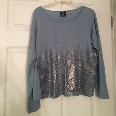 Blue Top Blue sweatshirt like top. Super soft. Silver metallic accents. bobeau Tops Sweatshirts & Hoodies