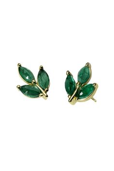 Details about Yellow Gold Plated Green Marquise Three Leaf Stud Earrings 925 Sterling Silver – Jóias com Diamantes para Engajamento Moon Earrings, Emerald Earrings, Emerald Jewelry, Diamond Hoop Earrings, Statement Earrings, Silver Earrings, Jewelery, Silver Jewelry, Silver Ring