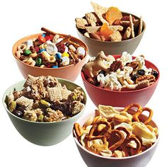 the best snack mixes for breaks between classes. great pick me up, a little whole grain cereal, a little nut protein, a little fruit, a little bonus! these go to mixes keep my kids healthy and happy (and the envy of their friends at snack time! Snack Mix Recipes, Appetizer Recipes, Dog Food Recipes, Cooking Recipes, Snack Mixes, Appetizers, Cooking Tips, Cooking Photos, Cooking Food