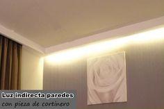 """Información de la luz indirecta como elemento decorativo para falsos techos y paredes. Instalación y venta en decoración de escayola y obra seca """"pladur""""."""