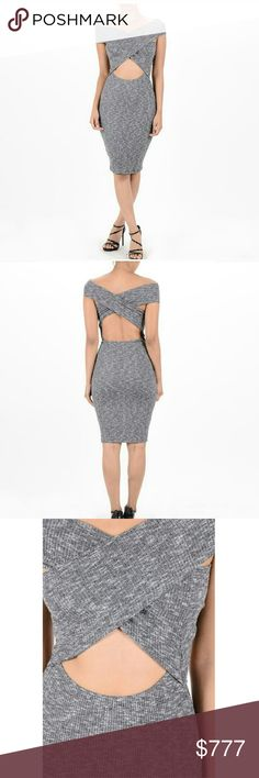 Just Arrived!  Charcoal Gray Ribbed X Shaped Dress Super simple and sexy! Just arrived in very limited quantity ( 1 S, 1 M, and 1 L). Charcoal gray ribbed cotton/spandex blend. Super form fitting! Cut out belly area and back. Meow! Dresses Midi
