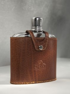 Your place to buy and sell all things handmade Glass Flask, Leather Cover, Chips, Plastic, Italy, Touch, Brown, Unique Jewelry, Handmade Gifts