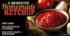 8 simple ingredients to make some tasty ketchup. (not exactly low carb but it's not easy finding a ketchup recipe that doesn't call for sugar.this one uses raw honey! Paleo Sauces, Paleo Recipes, New Recipes, Whole Food Recipes, Cooking Recipes, Favorite Recipes, Simple Recipes, Homemade Ketchup, Homemade Bbq