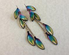 Jewelry earrings beads swarovski rainbow dangle Polymer clay rainbow handmade  Millefiori fairy floral fantasy leaf ooak kato sculpy fimo