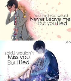 Miyazono Kaori amp Arima Kousei Shigatsu wa kimi no uso Your lie in april please come again to me Sad Anime Quotes, Manga Quotes, True Quotes, April Quotes, Miyazono Kaori, Your Lie In April, Kimi No Na Wa, Les Sentiments, You Lied