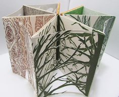 Tree Carousel Artist Book - Dendrology Artist Book - Linocut and Wood Book - Leaves, Branches, Roots
