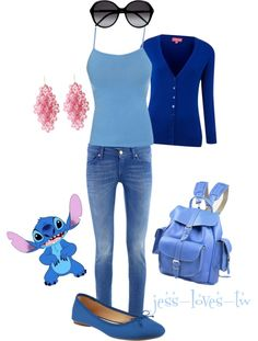 """Disney Inspired Outfit - Stitch"" by jess-loves-tw ❤ liked on Polyvore"