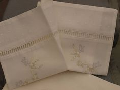 Beautiful Hand Made Hand Embroidered Matching Baby Bassinette Sheet & Pillowcase Made in a lovely soft, 100% A1 quality fine cotton voile fabric with contrasting ivory or white cotton clipped spot voile fabric and quality fine cotton lace insertion trim. This set is hand embroidered in delicate shades of bluebirds, cream shadow-work & cream & ivory roses hand embroidery trims the top corners of the pillow case & the centre of the sheet. Sheet and pillowslip may be in ivory or...