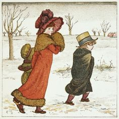 Girls and boy in the snow by Kate Greenaway, 19th century