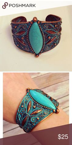 Faux Turquoise and Copper Filigree Cuff What is it about copper and turquoise that just feels right? This statement piece adds warm, southwestern elegance to any get-up. It is weighty and detailed, and will never go out of style! Lead and nickel compliant. posh by nina Jewelry Bracelets