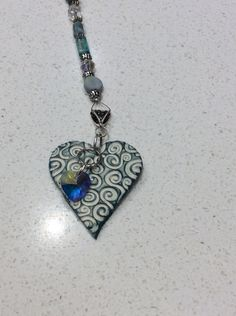 Green and blue heart sun catcher by simonesceramics on Etsy