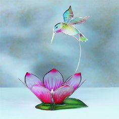 Flower Hummingbird Candle Holder