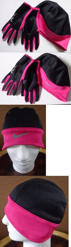 Hats and Headwear 158918: Nike Women S Run Thermal Beanie Glove Set Reflective Vivid Pink Black Medium New -> BUY IT NOW ONLY: $34.95 on eBay!