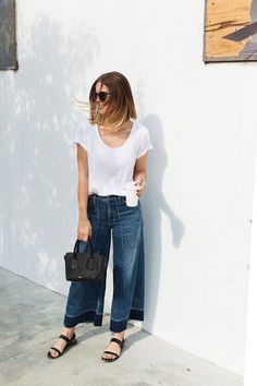 DENIM CULOTTES  love this idea! Scoop neck perfect white tee and denim  culottes! Don t live the fading on these but the look overall is perfect! 82b8a748162d