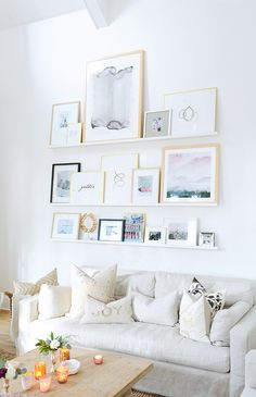 Gallery wall & interior design inspo from Brit & Co. Open shelving in your living room will make swapping out seasonal pieces on your gallery wall a total cinch. Loving the look, Brit Morin! Living Room Designs, Living Room Decor, Living Rooms, Living Room Gallery Wall, Living Room Wall Shelves, Dorm Shelves, Bookcase Storage, Bedroom Wall, Bookshelves