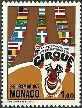 MONACO 1977 CIRCUS CLOWN 4TH CIRCUS FESTIVAL SET MNH