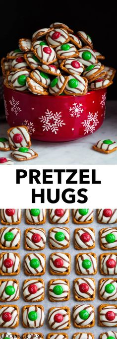 M&M Hugs - these are the perfect treats for Christmas gifts or parties., Pretzel M&M Hugs - these are the perfect treats for Christmas gifts or parties., Pretzel M&M Hugs - these are the perfect treats for Christmas gifts or parties. Holiday Treats, Holiday Recipes, Christmas Gift Treats, Christmas Goodies, Christmas Gifts To Make, Winter Treats, Xmas Gifts, Christmas Cooking, Easy Christmas Baking Recipes