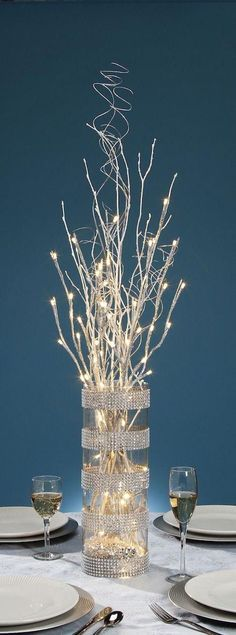 Glittery lighted branches for centerpiece ideas. 27 Inch Silver Glitter Branch with 20 Warm White LED Lights - Battery Operated Branch Centerpieces, Christmas Centerpieces, Xmas Decorations, Wedding Decorations, Centerpiece Ideas, White Branch Centerpiece, Centerpieces With Lights, Centerpiece Wedding, Vase Ideas