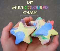 DIY How to make homemade multicoloured chalk at home with kids