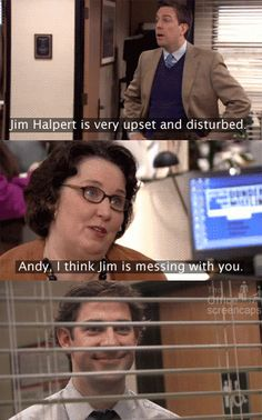 The Office Jim teaches Andy a lesson about trying to pretend that he (Andy) cou… - Office Memes The Office Jim, The Office Show, Office Fan, Parks N Rec, Parks And Recreation, Best Tv Shows, Best Shows Ever, Fandoms Unite, Dundee