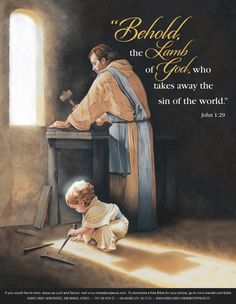 """What a lovely image of baby Jesus and Joseph. """"The next day John seeth Jesus coming unto him, and saith, Behold the Lamb of God, which taketh away the sin of the world. Catholic Art, Religious Art, Mother Of Christ, Birth Of Jesus Christ, Pictures Of Jesus Christ, Jesus Painting, Biblical Art, Jesus Art, Favorite Bible Verses"""