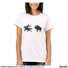 Indian riding horse - Choose background color T-Shirt Horse Silhouette, Western Riding, Tshirt Colors, Wardrobe Staples, Black Men, Colorful Backgrounds, Fitness Models, Indian, Female